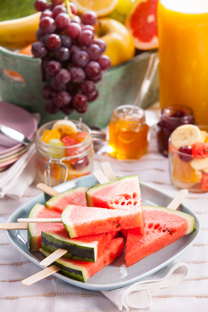 catering food: Vegan or vegetarian picnic with an assortment of fresh tropical fruit, sliced watermelon on sticks, fruit salad and fruity preserve rich in vitamins on a blanket on grass with homemade orange juice