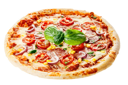 Fresh Baked Rustic Pizza Topped with Tomatoes, Basil and Cheese Isolated on White Background
