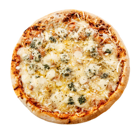 Overhead view isolated on white of a whole freshly baked delicious four cheeses Italian pizza with mozzarella, gorgonzola, goat milk and Emmental cheese topping Stock Photo