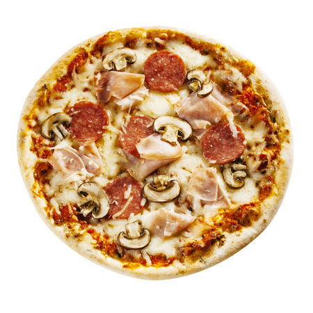 pizza base: Savory Italian ham and salami pizza with mushroom topping on a crusty base viewed whole and uncut from above isolated on white