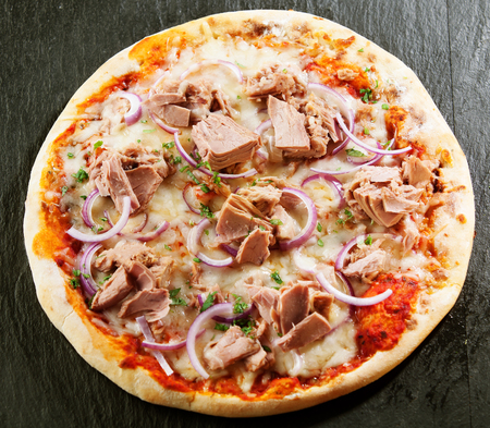 cheese pizza: Seafood Italian pizza with tuna fillet, onions, fresh herbs and mozzarella on tomato served uncut on a crusty base viewed from above