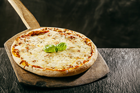 Tasty flame grilled Italian margarita pizza served in a pizzeria on a long handled wooden board over a rustic table, copyspace behind Standard-Bild