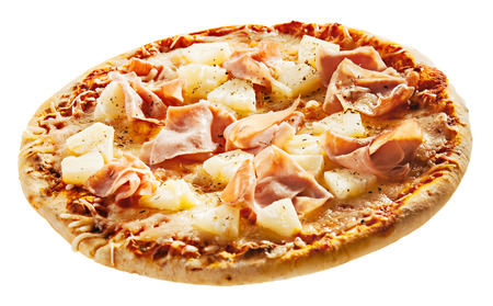 pizza base: Italian pizza with ham and pineapple on a thin crispy pastry base viewed low angle isolated on a white background