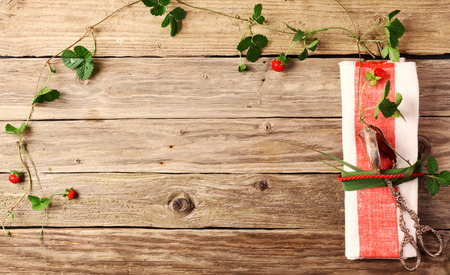 top angle: Pair of vintage silver tongs in a stylish place setting on a wooden table tied to a red and white napkin by fresh leaves with a trailing vine border with wild strawberries