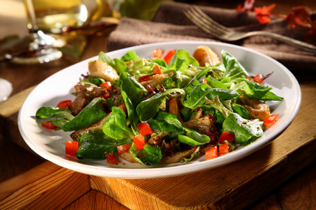 ambiente: Serving of tasty King Oyster salad with cold grilled mushrooms, rocket, tomato and lettuce for a healthy autumn snack or appetizer Stock Photo