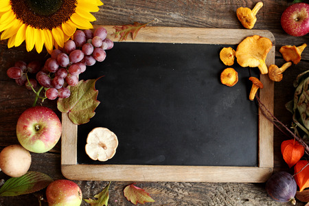grapes and mushrooms: Autumn cooking ingredients including apples, grapes and mushrooms arranged around a vintage slate with copyspace with a colorful yellow sunflower and orange physalis pods Stock Photo