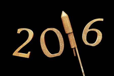 hogmanay: Conceptual Gold 3D 2016 Isolated on Black Background, Emphasizing Rocket Firework.
