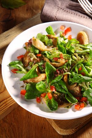 salad bowl: Tasty seasonal fall or autumn salad with grilled king oyster mushrooms, tomato and assorted leafy greens served on a table in a bowl as an appetizer or side dish
