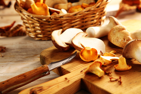 assortment: Assorted fresh autumn fungi on a wooden chopping board in the kitchen, including king oyster mushrooms or pleurotus, being sliced for a healthy addition to a meal Stock Photo