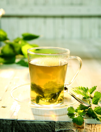stinging  nettle: Refreshing cup of healthy nettle tea with fresh green leaves of the stinging nettle providing a healthy alternative diuretic, in a country kitchen with copyspace Stock Photo