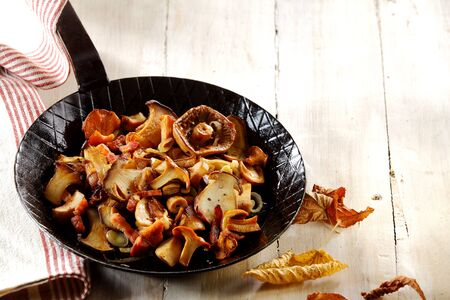 pan: Delicious assortment of fried autumn mushrooms including king oyster or pleurotus mushrooms, ready to serve as a healthy vegetarian snack or accompaniment to a meal