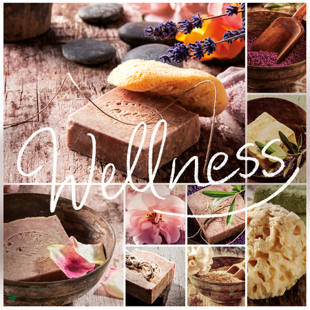 Wellness collage of various natural soaps from plant extracts and essential oils with natural marine sponges and massage stones at a spa Stock fotó