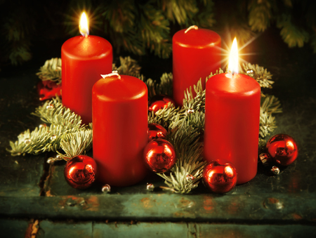 weihnachten: Xmas Advent wreath with two lighted candles for the 4th advent sunday rustic christmas traditional concept