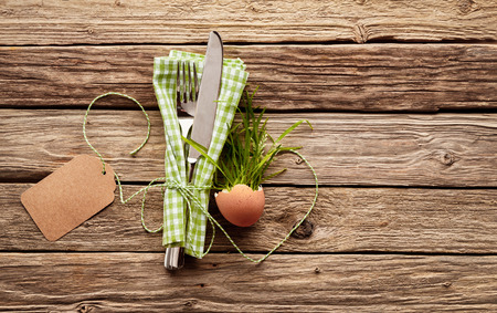 High Angle View of Country happy easter Themed Place Setting - Silver Knife and Fork Tied with String in Green and White Gingham Checkered Napkin Beside Plant in Eggshell Favor on Rustic Wood Table with Blank Tag Stock Photo