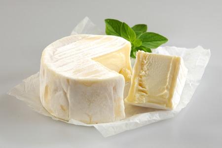 queso fresco blanco: Naturaleza muerta, - primer plano de la rueda redonda de queso suave con corte triangular de la cuña en el pedazo de papel encerado con una ramita de albahaca fresca sobre fondo gris neutro Foto de archivo