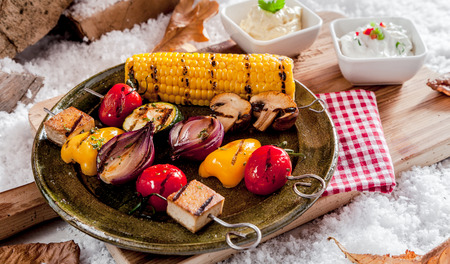 bean curd: Healthy vegetarian kebabs with grilled pepper, onion, eggplant, bean curd and corn on the cob served on a rustic pewter plate outdoors in snow