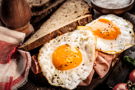 morning breakfast: Seasoned fried eggs and ham on whole grain bread served for breakfast on a rustic wooden table, close up view
