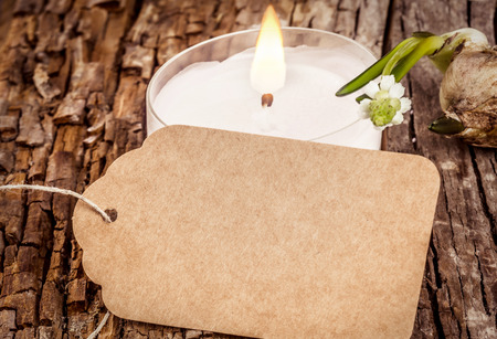 easter candle is burning: Empty spring sign with white candle on rustic wooden board