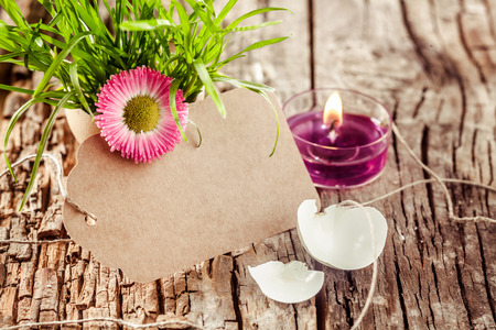 easter candle: beautiful blank easter candle and tag with copyspace and decorative flowers for easter advertising or greeting cards