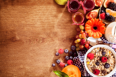Colorful breakfast meal concept with blank space on table