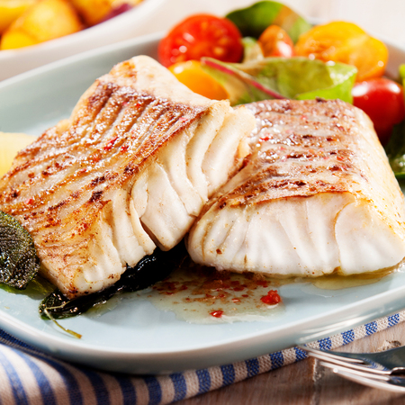 Two succulent fillets of savory grilled marinated pollock or coalfish served with a colorful fresh salad for a delicious appetizer, close up side view