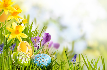 easter card: Fresh Easter background in a spring meadow with three colorful and decorative eggs nestling in grass below assorted spring flowers with a butterfly and copy space for advertising concepts. Stock Photo
