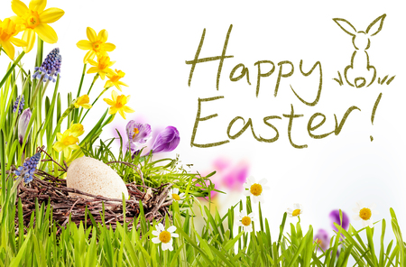 Happy Easter text surrounded by green grass, flowers and egg inside nest