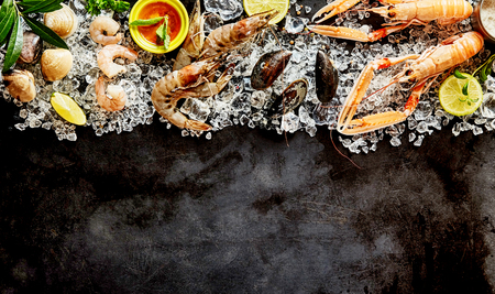 langouste: High Angle Seafood Cuisine Background Image with Fresh Shellfish - Shrimp, Langostino, Mussels and Clams - and Ingredients Chilling on Ice on Dark Background with Copy Space