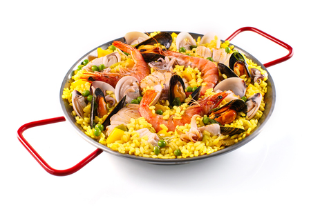 shellfish: Assorted shellfish and mussels cooked with rice for a delicious paella margarita recipe Stock Photo