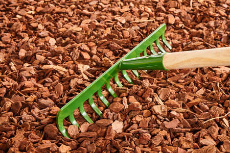 Single green painted garden rake with thick tines over red colored wood chip mulch on ground
