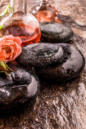 ambiente: Spa Zen Still Life of Delicate Pink Rose Bloom and Glass Bottles of Aromatic Essential Oils on top of Pile of Smooth Wet River Rocks with Copy Space Stock Photo