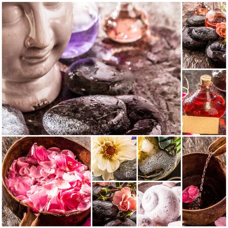 stone bowl: Spa Themed Composite Featuring Natural Products, Flower Petals, Smooth Stones and Essential Oils Stock Photo