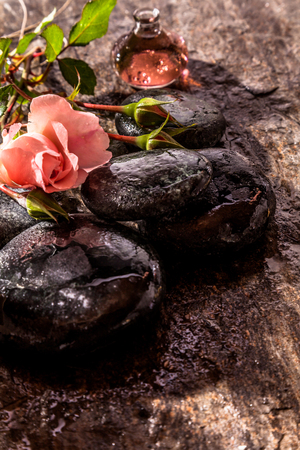 ambiente: Delicate Pink Rose Flowers Lying on top of Pile of Smooth Wet River Rocks on Rustic Surface with Small Glass Bottle of Pink Essential Aromatic Oil - Zen Spa Still Life with Copy Space