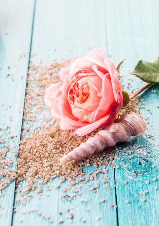 turquesa: Cerca de la flor rosa rosa delicado y Seashell espiral descansando en la cama de granos de exfoliación dispersadas en azul pintado de superficies de madera con el espacio de la copia
