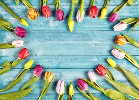 Herzförmige Rahmen der frischen Frühlingstulpen mit den Blumen um den Rahmen mit dem Ausstrahlen bilden Stiele auf rustikalen blauen Platten mit Exemplar für Ihren romantischen Gruß für Valentines, Hochzeit oder Jahrestag
