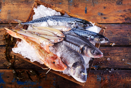 fishmonger: Variety of fresh marine fish on ice in a small wooden crate at a restaurant or fishmonger to preserve their freshness, overhead view on a rustic wooden table