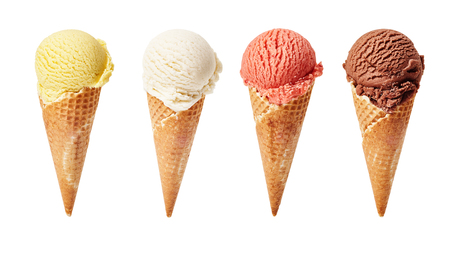 Various ice-cream scoops on white background with assorted balls of vanilla, chocolate, strawberry and butterscotch icecream in waffles. Imagens