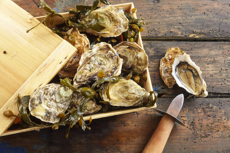 Small rustic wooden crate with lid full of fresh whole marine oysters in the shell with a shucking knife and one opened oyster on the outside, overhead view on rustic wood