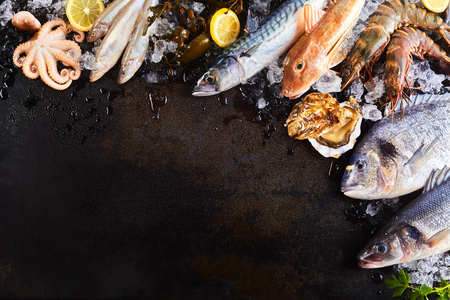dorade: High Angle Still Life View of Variety of Raw Fish and Seafood Chilling on Ice with Lemon and Arranged Around Border of Image on Rustic Wooden Table Surface with Copy Space Stock Photo