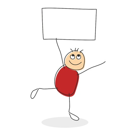 uphold: Stick man drawing with round red body standing on one leg while holding square in his string arms with empty sign with copy space