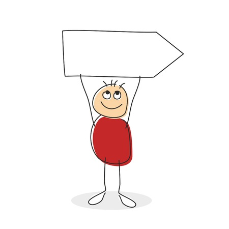 this: Stick man drawing holding arrow sign above his round body and string arms with a smile on his face. Empty sign with copyspace