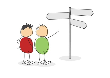escape route: Two cute cartoon figures with circular colored bodies and heads standing looking at a signpost with multiple blank arrows pointing in different directions