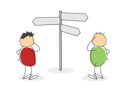 bewildered: Concept of choice and opportunity with two colorful cartoon stick figures with round bodies standing scratching their heads in front of a signpost with multiple blank arrows