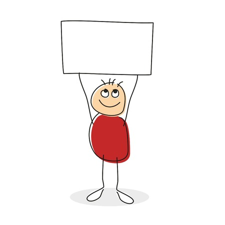uphold: Drawing of person with red round body holding square above his circle head in string arms with empty sign with copy-space