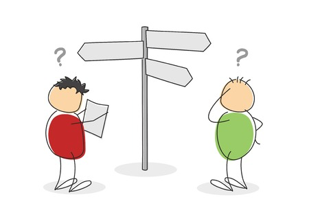 bewildered: Two lost colorful cartoon stick figures or tourists with round bodies and heads standing looking at a map and signboard with question marks above their heads in a concept of choices Stock Photo