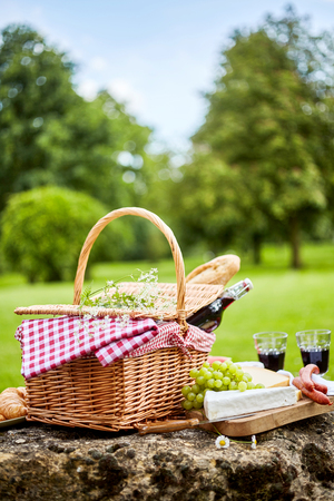 pic nic: Tasty spring picnic lunch with red wine, baguette, assorted cheese, grapes and spicy sausages with a wicker hamper and checked cloth on a rock in a park