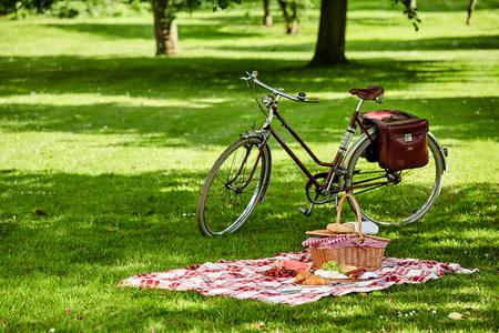 Велосипед с сумках и корзины для пикника со свежими фруктами, сыр, колбасы и хлеба разложенные на зеленой траве в пышного зеленого парка