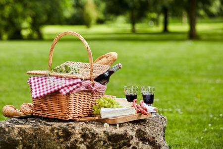 Elegante Picknick mit Rotwein, frischen Weintrauben, Käse, Baguette und auf einem rustikalen Steintisch angeordnet Würste in einem üppigen grünen Frühling oder Sommer Park, mit Kopie Raum