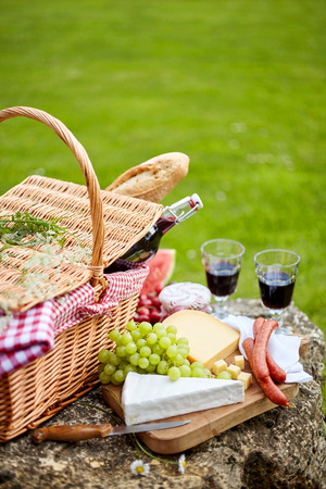 pic nic: Stylish picnic with red wine, fruit and cheese served with spicy sausages and fresh baguette on a cutting board balanced on a rock in a green lawn with copy space Stock Photo