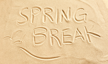 spring break: Spring Break and flying birds or seagulls drawn in golden beach sand conceptual of travel and a seaside vacation in the tropics Stock Photo